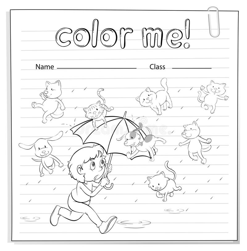 Ένα φύλλο εργασίας που παρουσιάζει μια βροχή με τις γάτες και τα σκυλιά διανυσματική απεικόνιση