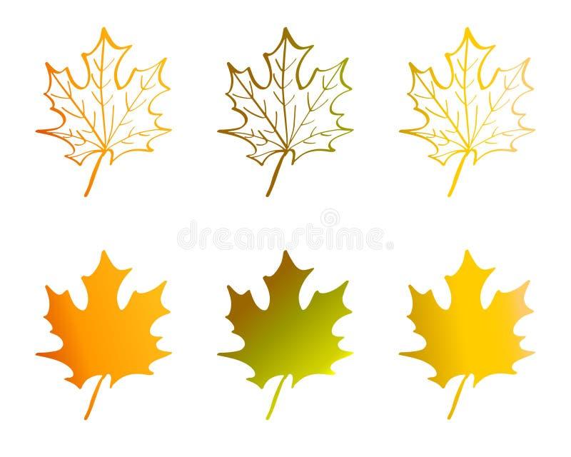 Ένα φύλλο σφενδάμου στα κόκκινα, κίτρινα, πορτοκαλιά, και πράσινα χρώματα ελεύθερη απεικόνιση δικαιώματος