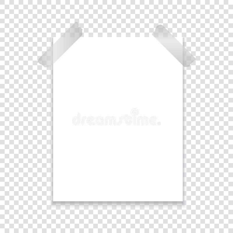 Ένα φύλλο του εγγράφου σύνδεσε με μια κολλητική ταινία με μια σκιά σε ένα διαφανές υπόβαθρο Πρότυπο για το πρόγραμμά σας διανυσματική απεικόνιση
