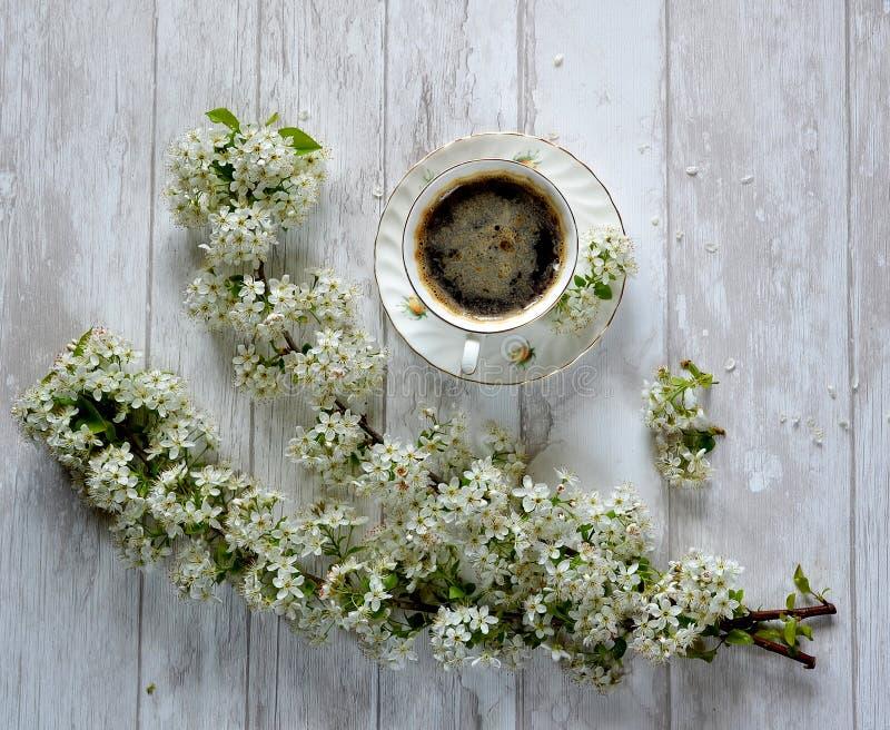 Ένα φλιτζάνι του καφέ και λουλούδια στοκ εικόνα με δικαίωμα ελεύθερης χρήσης