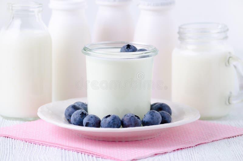 Ένα φλυτζάνι του γιαουρτιού με τα blueberrys και τα διαφορετικά μπουκάλια του γιαουρτιού πίνουν και γάλα στον πίνακα στοκ εικόνα