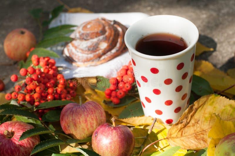 Ένα φλυτζάνι του ισχυρού μαύρου τσαγιού, γλυκό κουλούρι με τις σταφίδες, τα μούρα τέφρας, τα μήλα και τα ζωηρόχρωμα φύλλα φθινοπώ στοκ εικόνα