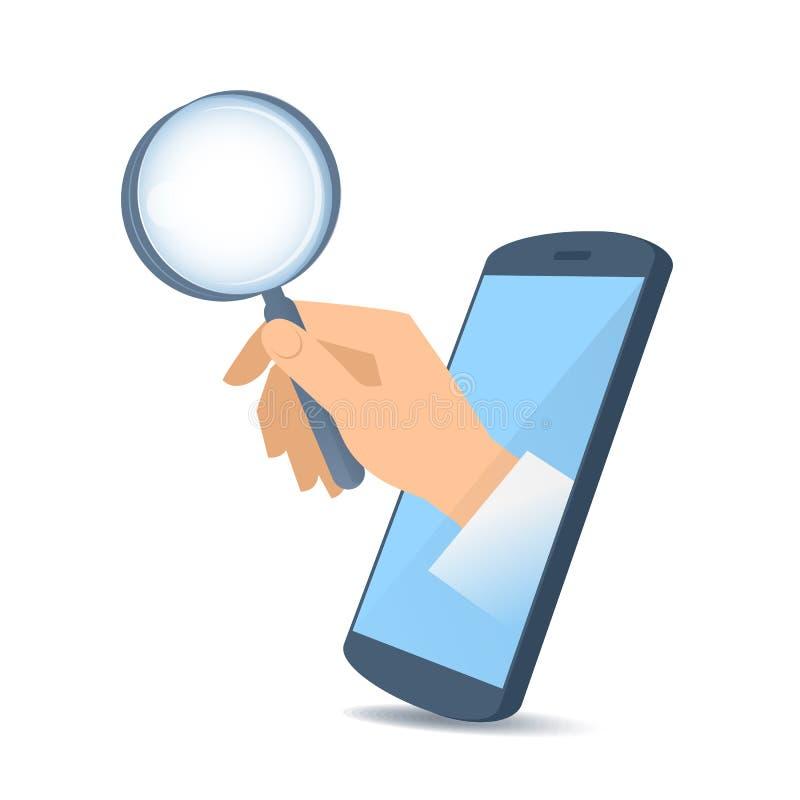 Ένα χέρι μέσω της τηλεφωνικής ` s οθόνης κρατά μια ενίσχυση - γυαλί διανυσματική απεικόνιση