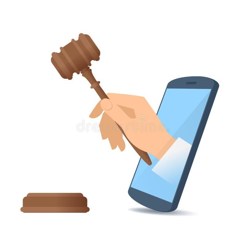 Ένα χέρι μέσω της τηλεφωνικής ` s οθόνης κρατά ξύλινο gavel διανυσματική απεικόνιση