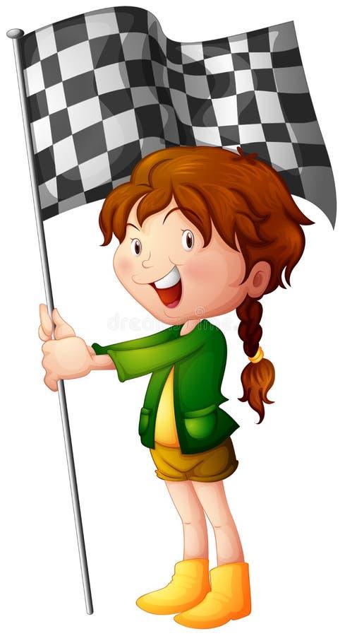 Ένα χαμογελώντας παιδί που κρατά μια σημαία διανυσματική απεικόνιση