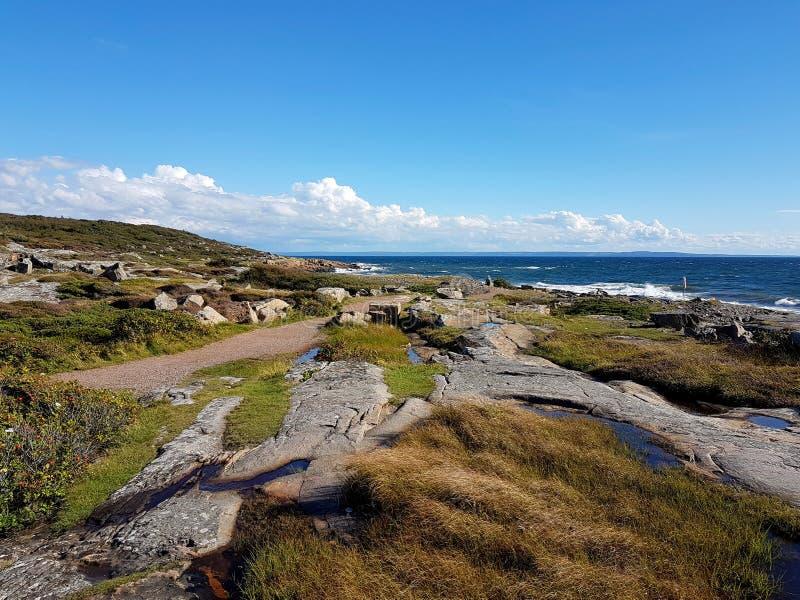 Ένα χαρακτηριστικό σουηδικό τοπίο Westcoast με τους απότομους βράχους που οδηγούν κάτω στον ωκεανό σε Tylösand, Halmstad, Σουηδί στοκ εικόνες