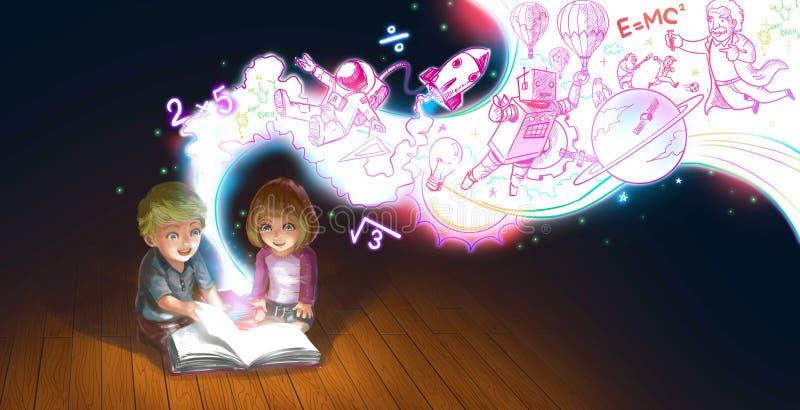 Ένα χαριτωμένο ζεύγος κινούμενων σχεδίων του καυκάσιου αγοριού παιδιών και το κορίτσι διαβάζουν το βιβλίο στο πάτωμα ενώ η γνώση  απεικόνιση αποθεμάτων