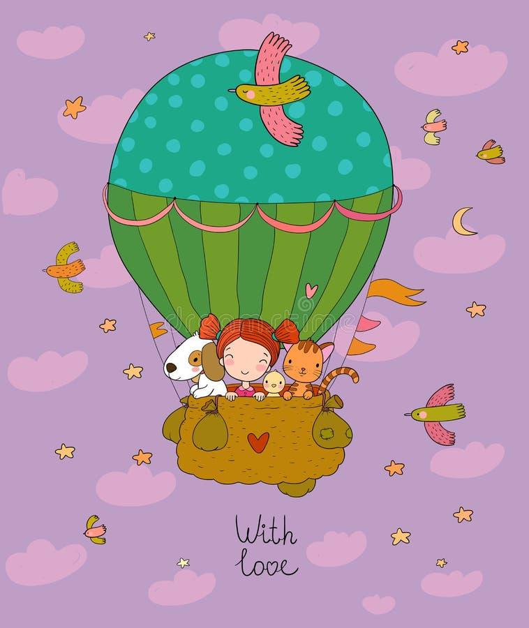 Ένα χαριτωμένο κορίτσι κινούμενων σχεδίων και οι φίλοι της πετούν με μπαλόνι Μικρή πριγκίπισσα, κοτόπουλο, γάτα και κουτάβι ελεύθερη απεικόνιση δικαιώματος