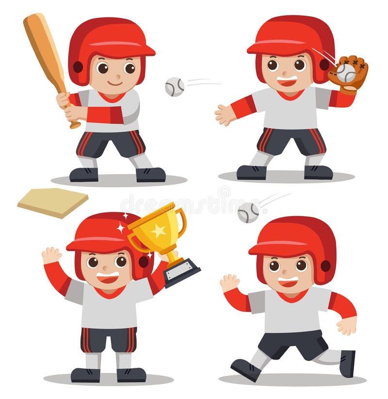 Ένα χαριτωμένο μπέιζ-μπώλ παιχνιδιού αγοριών διανυσματική απεικόνιση