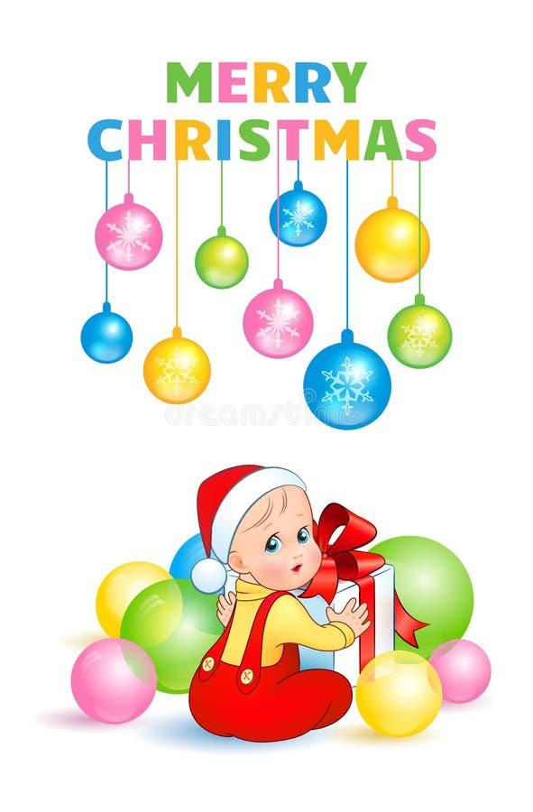 Ένα χαριτωμένο μωρό ανοίγει ένα κιβώτιο δώρων με ένα κόκκινο τόξο απεικόνιση αποθεμάτων