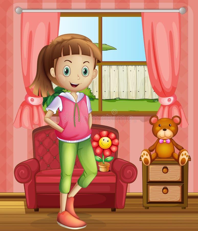Ένα χαριτωμένο νέο κορίτσι μέσα στο σπίτι απεικόνιση αποθεμάτων