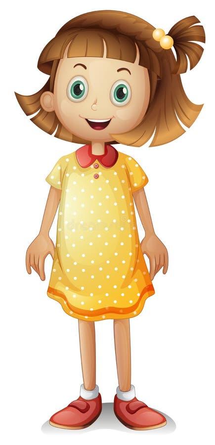 Ένα χαριτωμένο νέο κορίτσι που φορά ένα κίτρινο φόρεμα Πόλκα ελεύθερη απεικόνιση δικαιώματος