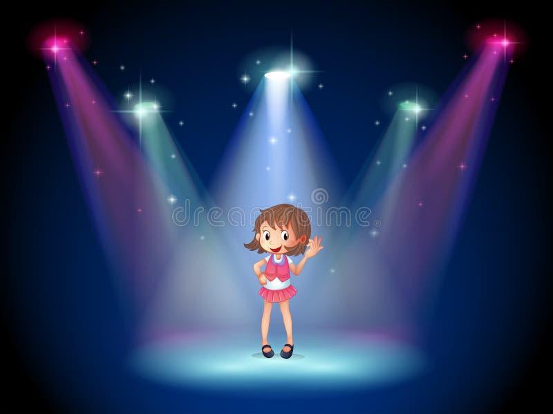 Ένα χαριτωμένο νέο κορίτσι στο στάδιο ελεύθερη απεικόνιση δικαιώματος
