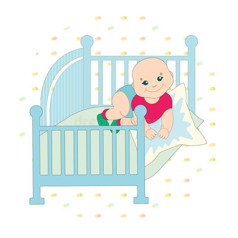 Ένα χαριτωμένο παιδί κάθεται στο κρεβάτι δίπλωσε τα χέρια του στο μαξιλάρι η κούνια είναι μπλε Απεικόνιση παιδιών σε ένα διακοσμη διανυσματική απεικόνιση