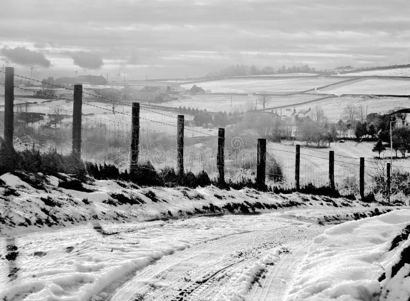 Ένα χιονισμένο αγροτικό τοπίο με έναν στενό ενιαίο δρόμο παρόδων στοκ εικόνα