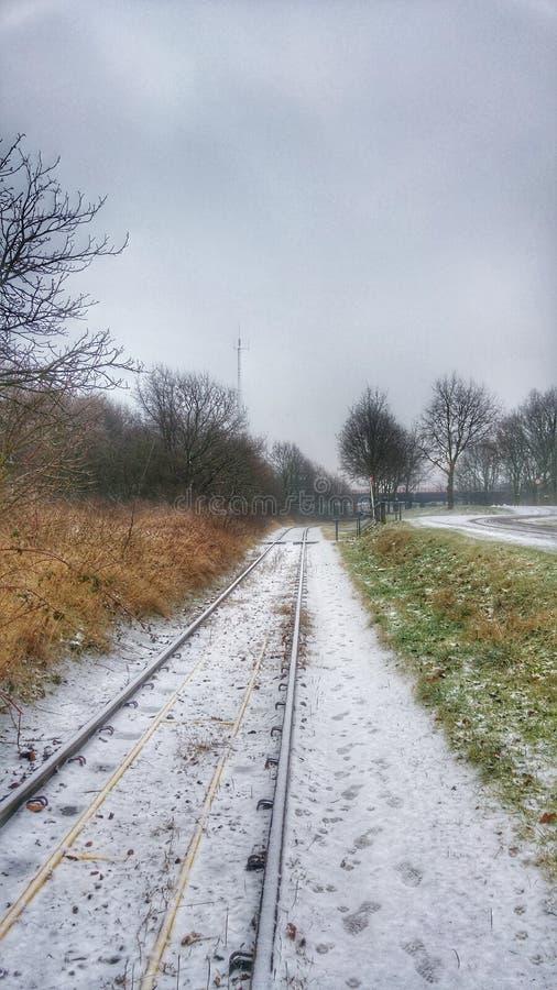 Ένα χιονώδες trainroad στοκ φωτογραφίες με δικαίωμα ελεύθερης χρήσης