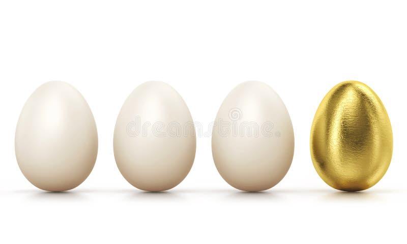 Ένα χρυσό αυγό μεταξύ των συνηθισμένων αυγών κοτόπουλου στη σειρά, πορεία ψαλιδίσματος μέσα απεικόνιση αποθεμάτων