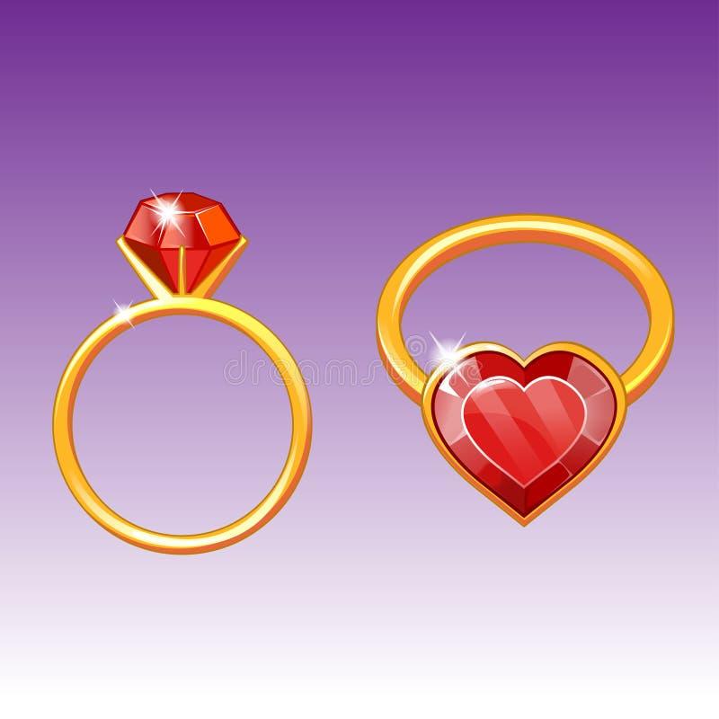 Ένα χρυσό δαχτυλίδι με διανυσματική απεικόνιση