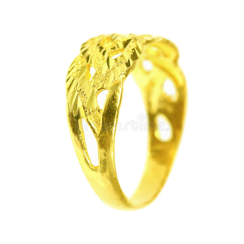 ένα χρυσό δαχτυλίδι στο λευκό στοκ εικόνες