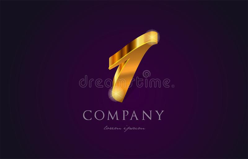 1 ένα χρυσό χρυσό σχέδιο εικονιδίων λογότυπων ψηφίων αριθμού αριθμού απεικόνιση αποθεμάτων