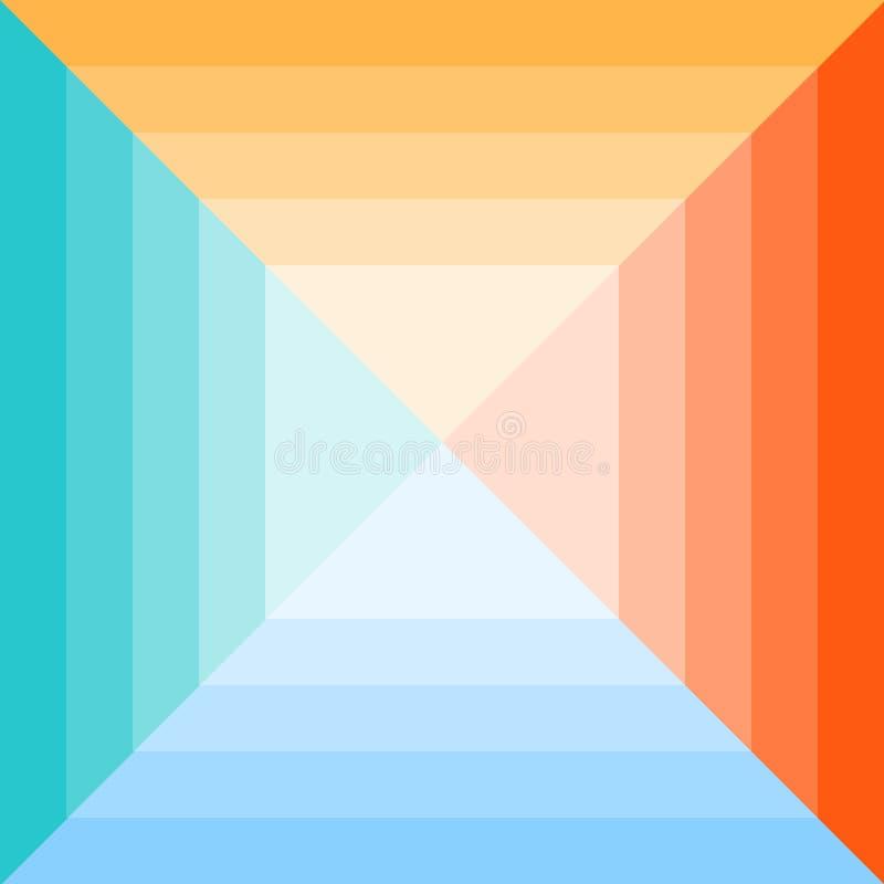 Ένα χρωματισμένο γεωμετρικό μονοχρωματικό τετράγωνο που διαιρείται σε τέσσερα χρώματα διανυσματική απεικόνιση