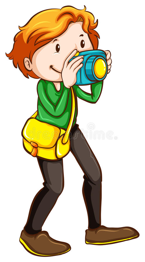 Ένα χρωματισμένο σκίτσο ενός φωτογράφου διανυσματική απεικόνιση