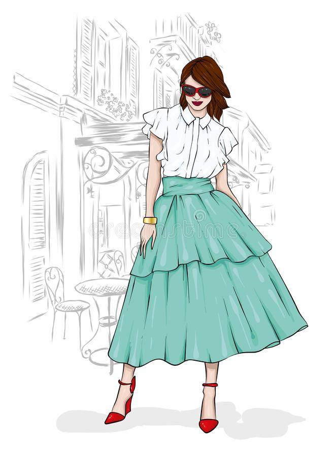 Ένα ψηλό, λεπτό κορίτσι σε μια φούστα του Midi, μια μπλούζα, ψηλοτάκουνα παπούτσια και ένας συμπλέκτης επίσης corel σύρετε το διά ελεύθερη απεικόνιση δικαιώματος