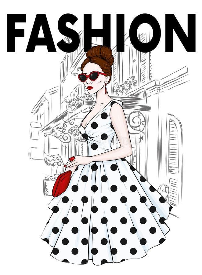 Ένα ψηλό, λεπτό κορίτσι σε μια φούστα του Midi, μια μπλούζα, ψηλοτάκουνα παπούτσια και ένας συμπλέκτης επίσης corel σύρετε το διά απεικόνιση αποθεμάτων