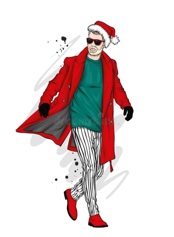 Ένα όμορφο άτομο σε ένα μακρύ παλτό, το παντελόνι, τα παπούτσια και τα γυαλιά μοντέρνος κοιτάξτε Διανυσματικά Χριστούγεννα απεικό διανυσματική απεικόνιση