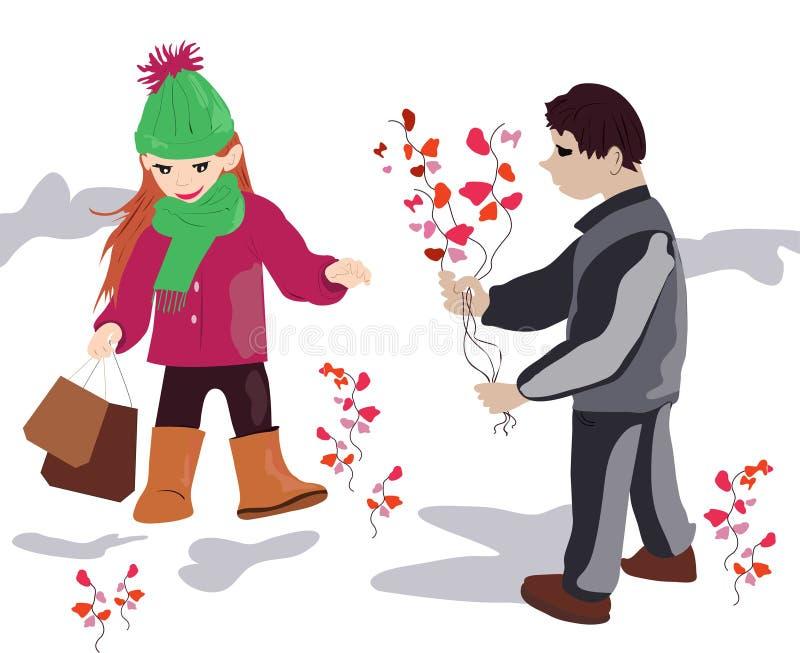 Ένα όμορφο αγόρι δίνει τα λουλούδια άνοιξη σε ένα όμορφο κορίτσι απεικόνιση αποθεμάτων