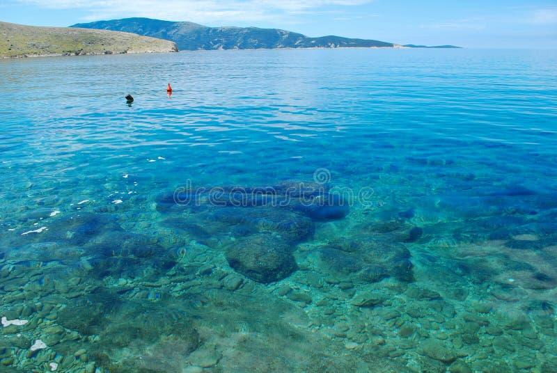 ένα όμορφο θαλάσσιο πανόραμα με το διαφανές νερό στοκ εικόνες