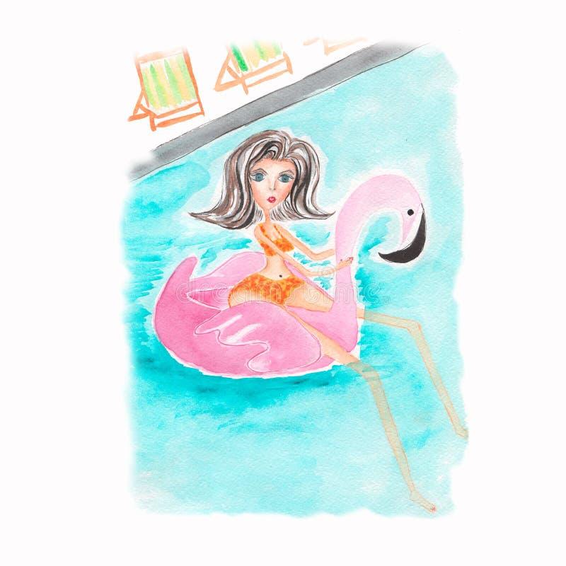Ένα όμορφο κορίτσι σε ένα μαγιό Θάλασσα, διακοπές, διακοπές Σύνθεση watercolor χεριών Απεικόνιση, σκίτσο Μόδα, ύφος ελεύθερη απεικόνιση δικαιώματος