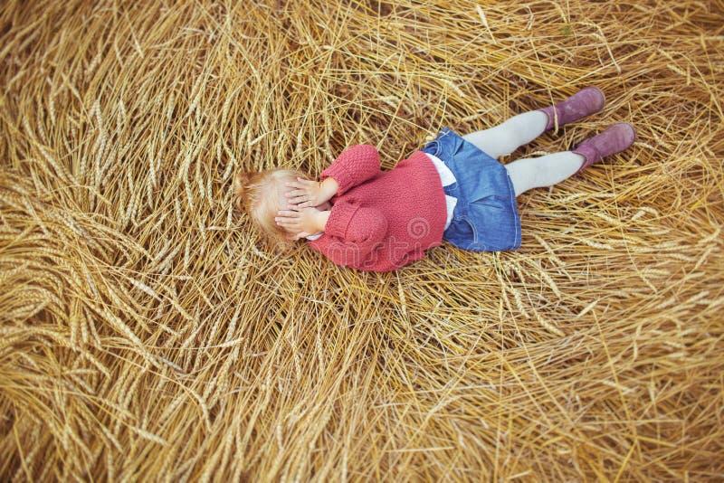 Ένα όμορφο μικρό κορίτσι βρίσκεται αυτιά του σίτου και κλείνει τα μάτια του στοκ εικόνα με δικαίωμα ελεύθερης χρήσης