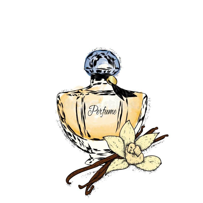 Ένα όμορφο μπουκάλι του θηλυκού αρώματος και αυξήθηκε με τα φύλλα Διανυσματική απεικόνιση για μια κάρτα ή μια αφίσα, τυπωμένη ύλη απεικόνιση αποθεμάτων