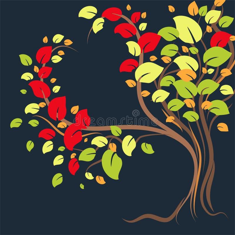 Ένα όμορφο μόνο δέντρο με τα ζωηρόχρωμα φύλλα με μορφή μιας καρδιάς ελεύθερη απεικόνιση δικαιώματος
