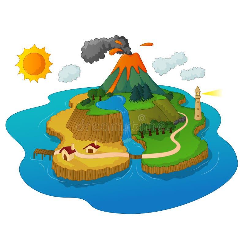Ένα όμορφο νησί με να εκραγεί ηφαιστείων απεικόνιση αποθεμάτων