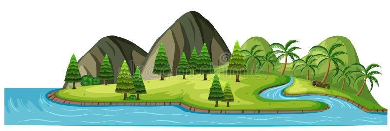 Ένα όμορφο τροπικό νησί στο άσπρο υπόβαθρο διανυσματική απεικόνιση