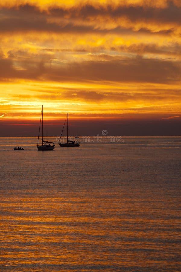Ένα όμορφο sunsetat Sestri Levante, Sestri Levante, Γένοβα, Λιγυρία, Ιταλία στοκ εικόνες
