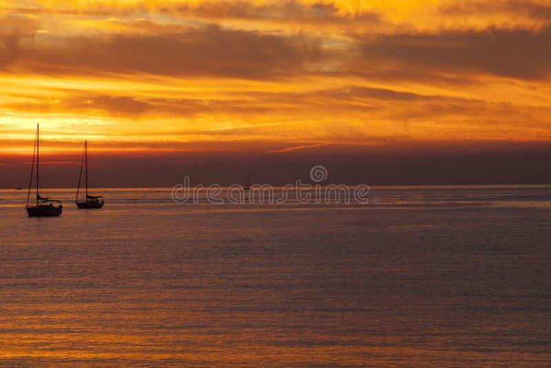 Ένα όμορφο sunsetat Sestri Levante, Sestri Levante, Γένοβα, Λιγυρία, Ιταλία στοκ φωτογραφία με δικαίωμα ελεύθερης χρήσης
