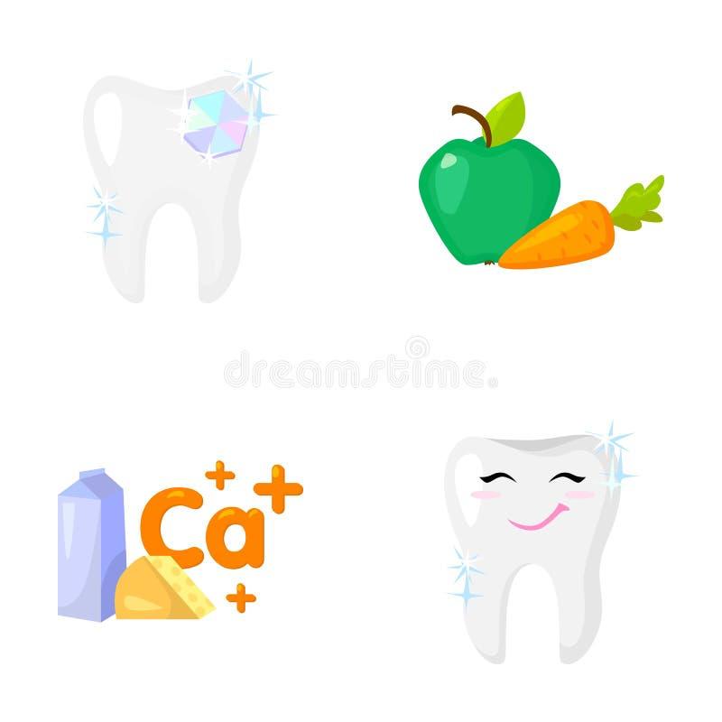 Ένα δόντι με το λαμπρό σπινθήρισμα, ένα μήλο με τα καρότα χρήσιμα για τα δόντια, γάλα σε ένα κιβώτιο, τυρί και ένα σημάδι του ασβ απεικόνιση αποθεμάτων