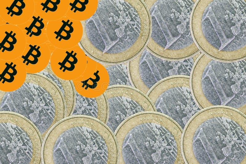 Ένα bitcoin με τα νομίσματα ευρώ στοκ φωτογραφίες
