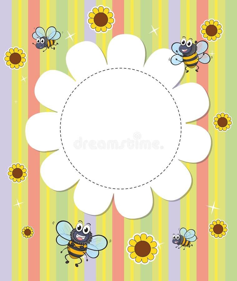 Ένα flowery σχεδιασμένο κενό πρότυπο με τις μέλισσες απεικόνιση αποθεμάτων