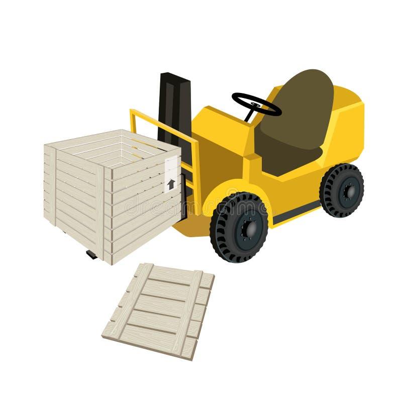Ένα Forklift φορτηγό που φορτώνει το ανοικτό στέλνοντας κιβώτιο απεικόνιση αποθεμάτων