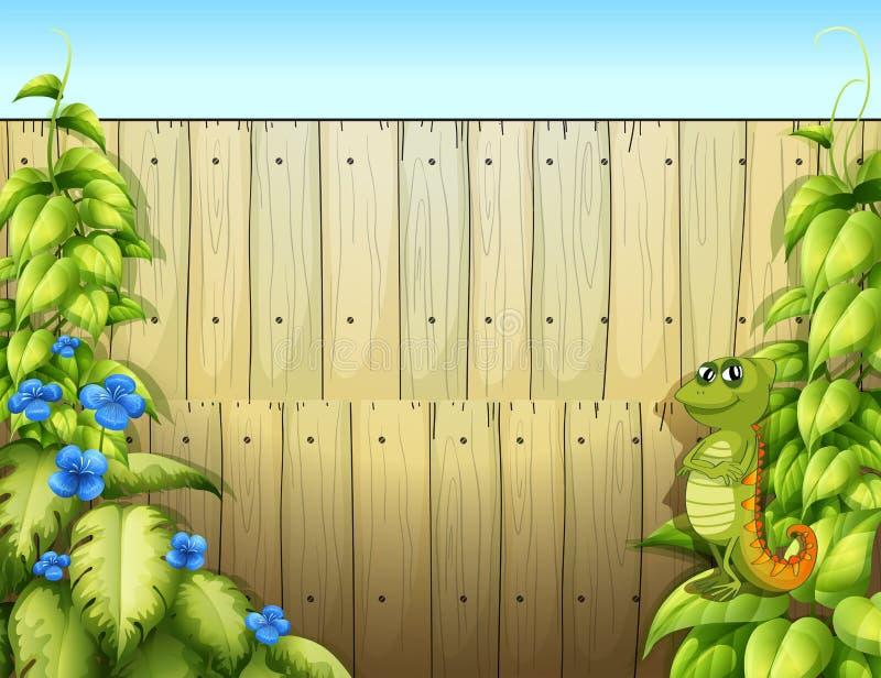 Ένα iguana μέσα στο φράκτη διανυσματική απεικόνιση