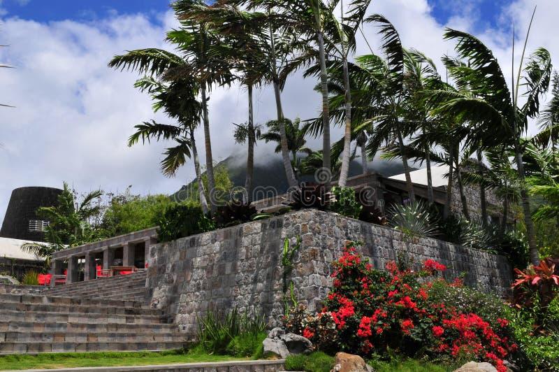 Ένα Mountainside θέρετρο σε Nevis, ένα νησί Καραϊβικής στοκ φωτογραφίες