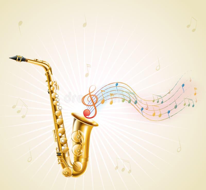Ένα saxophone με τις μουσικές νότες απεικόνιση αποθεμάτων