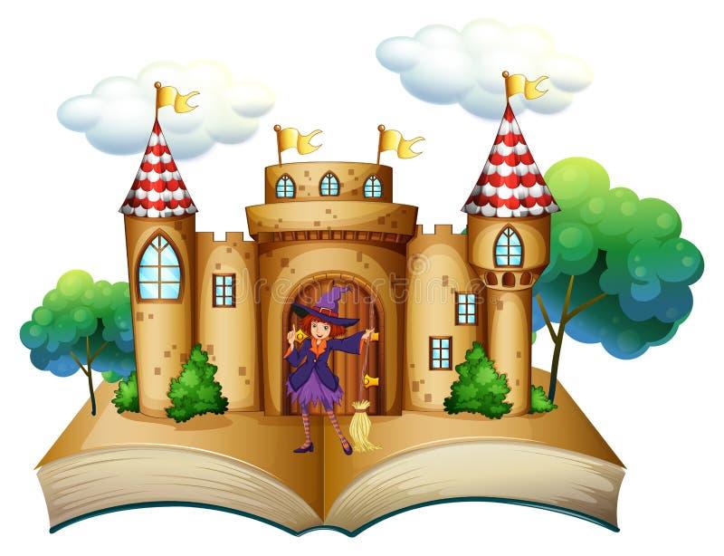 Ένα storybook με ένα κάστρο και μια μάγισσα διανυσματική απεικόνιση