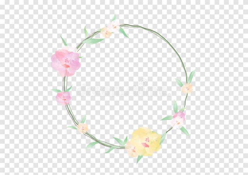 Ένα Watercolor ανθίζει και πράσινος βγάζει φύλλα στον κύκλο crownd με τον κλάδο και το σχοινί, όμορφο floral έμβλημα πλαισίων ελεύθερη απεικόνιση δικαιώματος