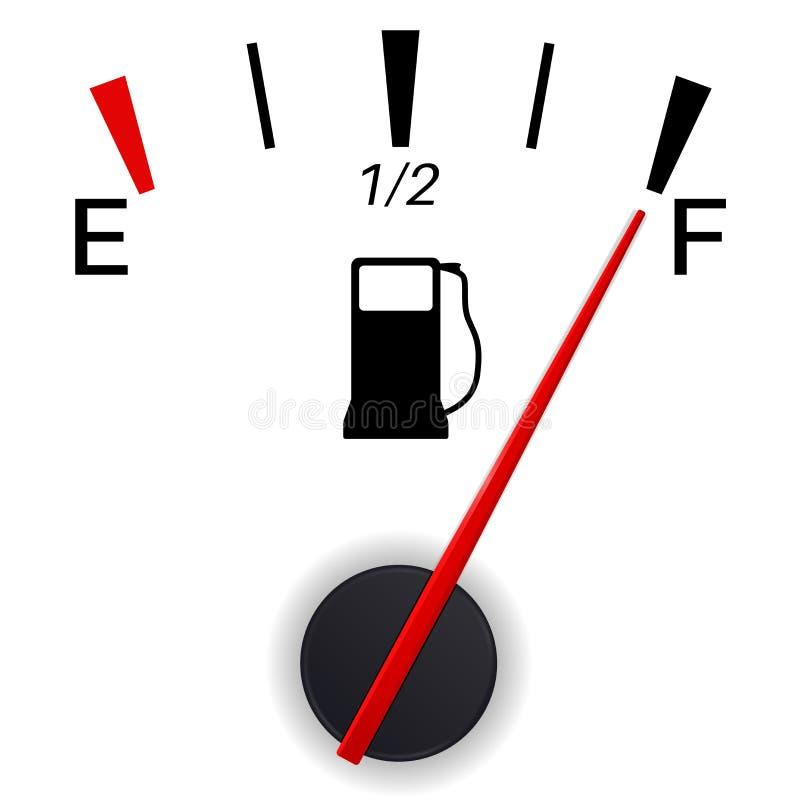 Ένδειξη μετρητών καυσίμων πλήρης δεξαμενή ελεύθερη απεικόνιση δικαιώματος