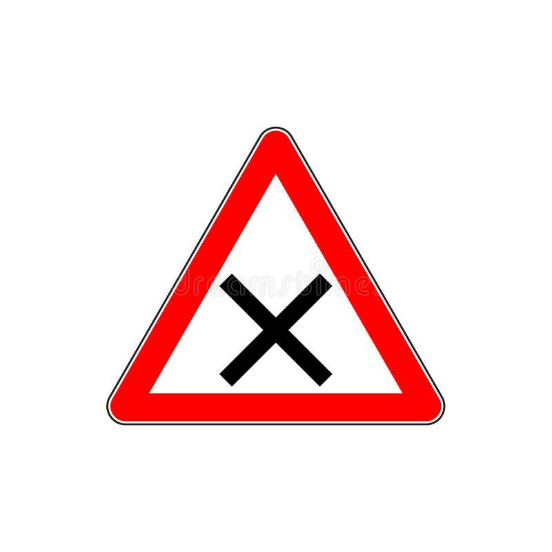 Ένδειξη του οδικού σημαδιού προειδοποίησης για τη διατομή απεικόνιση αποθεμάτων